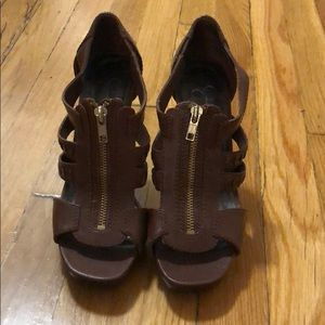 Jessica Simpson Brown Leather Strappy Heels